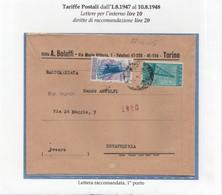 St.Post.169 - REPUBBLICA 1948 - 3°PeriodoTarif. - Busta Racc. Da Torino A Novafeltria 27.4.48 - 6. 1946-.. República