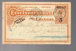 CONGO - EP STIBBE # 31 TT -  REPLY - BANANA To LEOPODVILLE To IREBU 1913 - CAPT STEAMER - Leger Pli Coin -  PAQ1 - Interi Postali