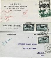 TP N° 251, 256 Et PA3 Sur 2 Devants D'enveloppes Commerciales  De Casablanca - Brieven En Documenten