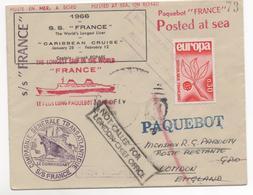 Paquebot FRANCE Voyage Croisiére CARIBBIAN CRUISE 1966 - Storia Postale