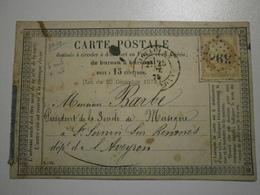 1875 -  Carte Précurseur Type Cérès Cachet N° 3982 - Toulouse (31) Pour Saint Sernin Sur Rance (12) - (ASp10) - 1849-1876: Période Classique