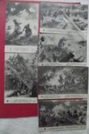 C P La  Bataille Sous Verdun Signé Leon Zallaline ? Lot 6 Cartes - Guerre 1914-18