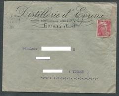 Evreux Lettre Avec Gandon Perforé LM Leblanc & Monduit Distillerie D'Evreux 1946 - France