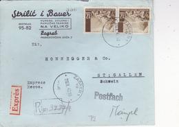 CROATIA  -  NDH  --  RECO  BRIEF + EXPRES + ZENSUR 356   --   1942  --  STRILIC I BAUER, ZAGREB Nach ST. GALLEN, SCHWEIZ - Kroatien