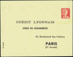 """N° 1011 C G1h 0,25 M  De Muller """"Crédit Lyonnais"""" Paris 2è  Cote: 45 - Entiers Postaux"""