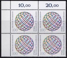 """BRD, 1990 Nr. 1464 **,  Viererblock Mit Eckrand Oben Links, """"Internationale Fernmeldeunion"""" - Nuovi"""