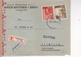 CROATIA  -  NDH  - RECO  BRIEF VUKOVAR  + WERMACHT ZENSUR -- 1943  -  STAKLANA GOTTFRIED I SINOVI NACH EICHWALD, SUDETEN - Kroatien