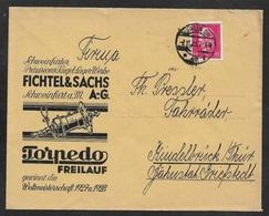 1929 Dt.Reich - EF 15Pf Mi. 414 - ILLUSTRIERTER WERBEUMSCHLAG - FICHTEL U. SACHS KUGELLAGER WERKE - Deutschland