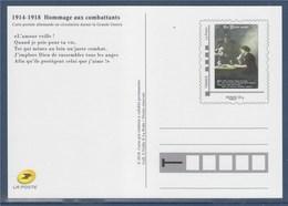 = Type MonTimbraMoi Monde 20g Entier CP Reproduction Carte Durant La Grande Guerre Hommages Aux Combattants Phil@poste - Entiers Postaux