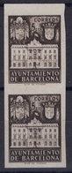 España 1942. Barcelona. Ed 37s Pareja. Variedad. Serie 9 Letra X Con Doble Impresion Numero. MNG. *. - Barcelona