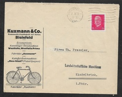 1929 Dt.Reich - EF 15Pf Mi. 414 - ILLUSTRIERTER WERBEUMSCHLAG - KUXMANN & Co DÜNGER FAHRRÄDER KARTOFFEL ERNTEMASCHINEN - Deutschland