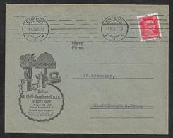 1928 Dt.Reich - EF 15Pf Mi. 391 - ILLUSTRIERTER WERBEUMSCHLAG - HELIOS LICHT GESELLSCHAFT - ELEKTRISCHE APPARATE - Deutschland