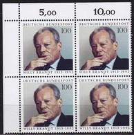 """BRD, 1993 Nr. 1706 **,  Viererblock Mit Eckrand Oben Links, """"Willy Brandt"""" - Nuovi"""