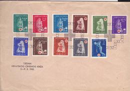CROATIA   --  NDH   ---   FDC /   TJEDAN CRVENOG KRIZA U NEZAVISNOJ DRZAVI HRVATSKOJ /  1943  //  RED CROSS, ROTE KREUZ - Kroatien