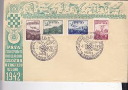 CROATIA --  NDH   --  BRIEF  --   N. D. H.  ZA HRVATSKA KRILA  -  ZRAKOPLOVNA  MODELARSKA IZLOZBA  - ZAGREB, 4. IV. 1942 - Kroatien