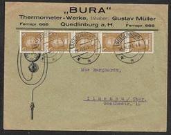 1927 Dt.Reich - MeF 3Pf (5) VERTIKALER STREIFEN Mi. 385 - QUEDLINGEN ILLUSTRIERTER WERBEUMSCHLAG - THERMOMETER - Deutschland