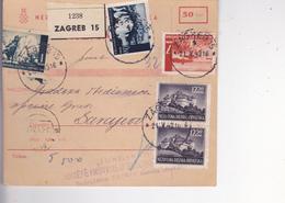 CROATIA --  NDH   -  PARCEL CARD  --  WITH TAX  STAMPS -- ZAGREB Nach SARAJEVO  --  1943  /  FIRMA ,, TUNGSRAM ,, ZAGREB - Kroatien