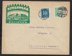 1925 Dt.Reich - MiF  Mi. 358, 372 - ILLUSTRIERTER WERBEUMSCHLAG N. SCHWEDEN - PORTOGERECHT - RITTERWERK SOLINGEN - Deutschland