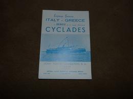 Dépliant Express Service Italy Greece Brindisi John Toyas Navigation 1955 Paquebot Transport Maritime - Bateaux