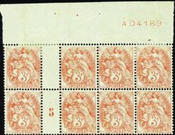 N° 109 Bloc De 8 Timbres Millésime 5 Avec Essai De Numérotation       Qualité:* - 1900-29 Blanc