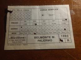 BIGLIETTO AUTOBUS SICILBUS TRATTA BELMONTE MEZZAGNO-PALERMO-1993 - Bus