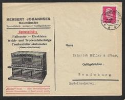 1930 Dt.Reich - EF 15Pf Mi. 445 - ILLUSTRIERTER WERBEUMSCHLAG - GEFLÜGELHÄUSER EIERKISTEN HUHN TROCKENFUTTER AUTOMATEN - Deutschland