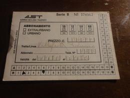 BIGLIETTO AUTOBUS  AST-TRATTA VILLAFRATI - PALERMO - ABBONAMENTO SETTIMANALE 1992 - Season Ticket