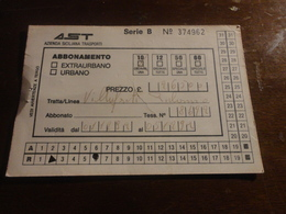 BIGLIETTO AUTOBUS  AST-TRATTA VILLAFRATI - PALERMO - ABBONAMENTO SETTIMANALE 1992 - Week-en Maandabonnementen