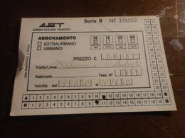 BIGLIETTO AUTOBUS  AST-TRATTA PALERMO - VILLAFRATI - ABBONAMENTO SETTIMANALE 1992 - Abonnements Hebdomadaires & Mensuels