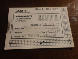 BIGLIETTO AUTOBUS  AST-TRATTA PALERMO - VILLAFRATI - ABBONAMENTO SETTIMANALE 1992 - Week-en Maandabonnementen