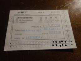 BIGLIETTO AUTOBUS  AST-TRATTA PARTINICO-BORGETTO - ABBONAMENTO 10 CORSE  1993 - Week-en Maandabonnementen