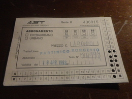 BIGLIETTO AUTOBUS  AST-TRATTA PARTINICO-BORGETTO - ABBONAMENTO 10 CORSE  1993 - Abonnements Hebdomadaires & Mensuels