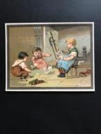 Chromo Publicitaire Grand Format – Godimus – Magazin De Chaussures à Chartres Ca 1880 – Jeux De Chats - Andere