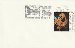 """Env. De """"Villefranche Du Périgord - 24, Dordogne"""" Du 18-10-1991 """"Bastide, écomusée"""" Sur YT 2727 (champignons) - Poststempel (Briefe)"""