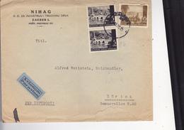 CROATIA --  NDH   --   BRIEF  --  1942  --  PER LUFTPOST  --  ,, NIHAG ,,  D. D.  ZAGREB Nach ZURICH, SCHWEIZ - Kroatien