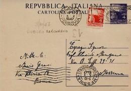 Intero C133 ; Roma 3-10-1947 Per Messina ; Timbro  A Targhetta GIUBILEO MARCONIANO - 6. 1946-.. Repubblica