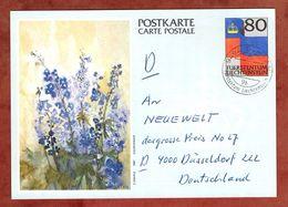 P 86 Flagge Abb Rittersporn, Schaan Nach Duesseldorf 1988 (89228) - Entiers Postaux