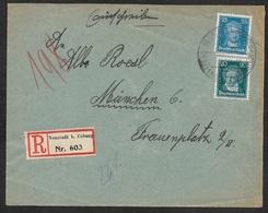 1927 MiF EINSCHREIBEN  Mi.392,293 - SSTPL NEUSTADT B. COBURG DIE BAYERISCHE PUPPENSTADT M. BAHNPOST - Deutschland