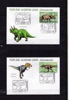 BRD, 2008, 4 FDC (individuell), Mit Michel 2687/90 Aus Block 73, Sonderstempel, Für Die Jugend/Dinosaurier - FDC: Covers