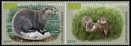 Kazakhstan 2019 2 V MNH Red Book Of Kazakhstan. Eurasian River Otter Loutre - Francobolli