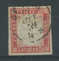 1859-SARDEGNA-40 C.RARE COLOUR-USED-SIGNED-LUXE !! - Sardegna
