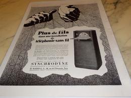 ANCIENNE PUBLICITE PLUS DE FILS  SYNCHRODYNE RADIO LL 1927 - Autres