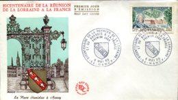 FDC Bicentenaire Du La Réunion D La Lorraine Et Du Barrois à La France - Nancy (54) - 6 Mai 1966 - 1960-1969