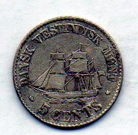 DANISH WEST INDIES, 5 Cents, Silver, Year 1859, KM #65 - Antille