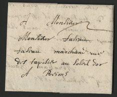 """1685 ARDENNES Lettre Datée De Sedan Le 4/09/1685 Et Adressée à Reims. Avec La Taxe Manuscrite """"2"""". - Storia Postale"""