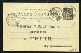 Rare Entier Postal BYRRH De Creil Pour Thuir ( 1901 ) - Marcofilie (Brieven)