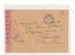1941 ENVELOPPE  F.M. AVEC CENSURE   POUR LIMOGES (HAUTE VIENNE) - Marcophilie (Lettres)