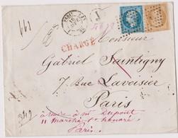Enveloppe CHARGEE De Paris J Pour Paris, Sept 58, Cachet REBUT De Paris Au Verso - Marcophilie (Lettres)