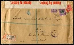 AFRIQUE DU SUD - N° 2A + 4 + 8 / LR , ETIQUETTE ALLEMANDE , DE SWAKOPMUND LE 18/10/1915 POUR GENEVE AVEC CENSURE - B - Stamps