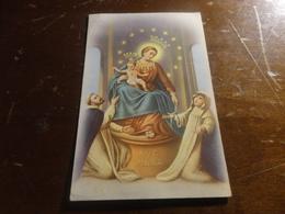 CARTOLINA MADONNA DEL ROSARIO AVE MARIA VIAGGIATA CON 2O LIRE ITALIA AL LAVORO- ANNULLO NICOSIA ENNA-1954 - Vergine Maria E Madonne